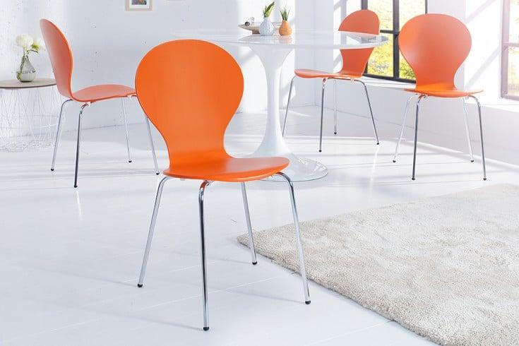 Design Stuhl FORM Designklassiker aus hochwertigem Formholz orange stapelbar