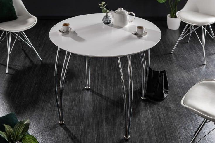 Moderner Esstisch ARRONDI 90cm weiß chrom rund Bistrotisch