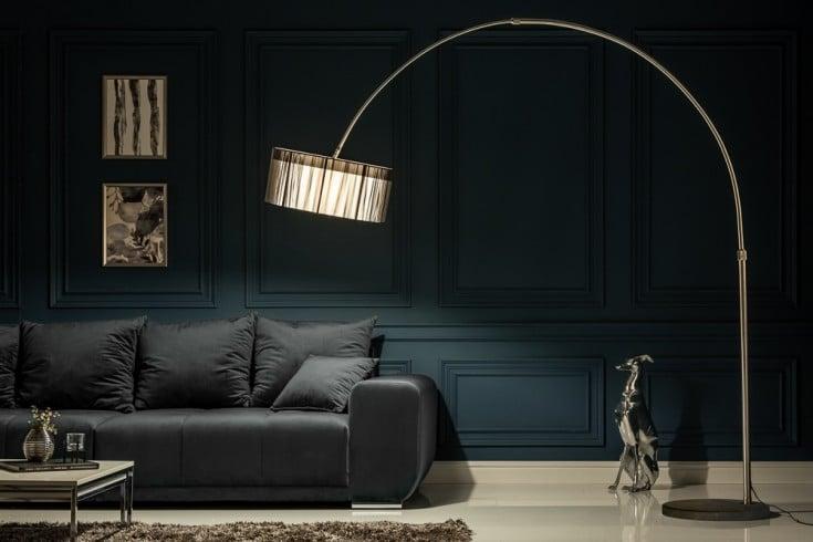 Design Bogenlampe EXTENSO 230cm schwarz Stehlampe mit Marmorfuß