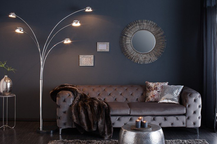 Design Bogenlampe FIVE LIGHTS 205cm silber Stehlampe mit Marmorfuß