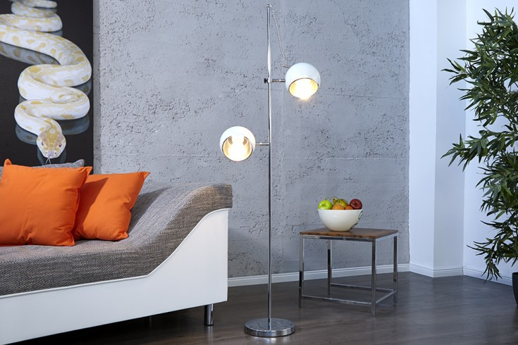 Stylische Retro Stehlampe BUBBLE weiß
