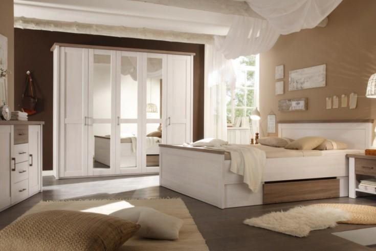 Exklusive Schlafzimmerkombination AMSTERDAM 5tlg. Pinie Weiß  Eiche Trüffel Bett mit Nachtkommoden, Kleiderschrank und Kommode