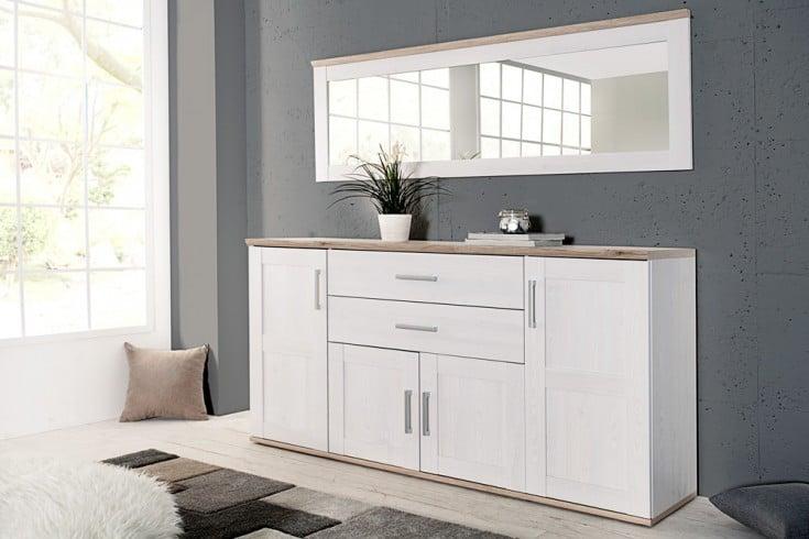 Exklusive Design Kombination NOTTING HILL 2tlg. Sideboard 185 cm und Spiegel weiss San Remo hell