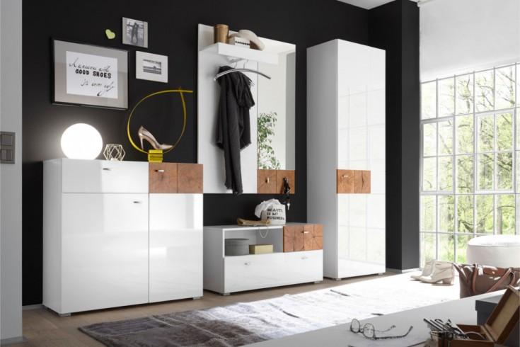 Modernes Design Garderoben Set MODERN NATURE 4tlg. Hochglanz weiß Stirnholz Natur-Applikationen