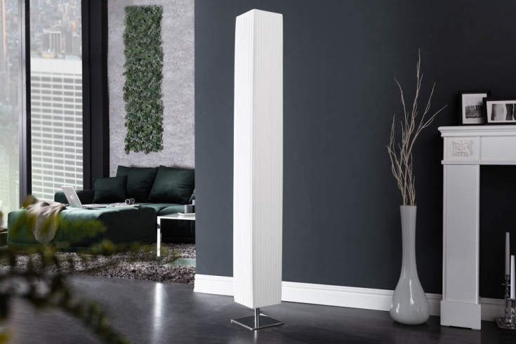 Moderne Design Stehlampe PARIS XXL 160cm weiß Plissee Schirm Stehleuchte
