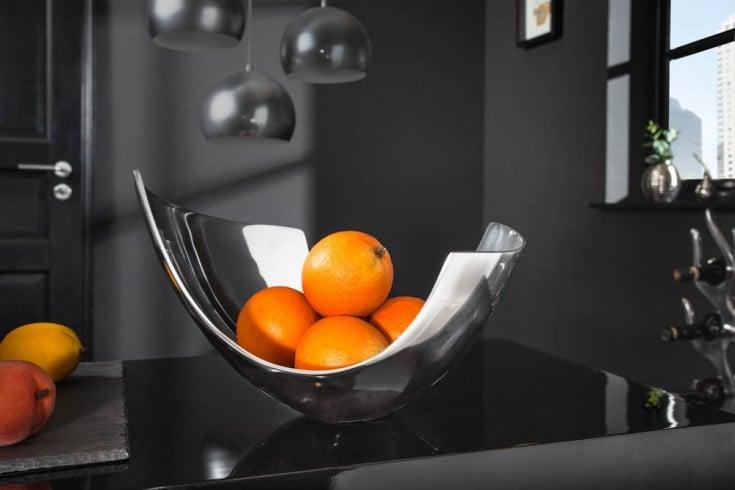 Moderne Schale ABSTRACT 30cm Aluminium poliert Dekoration