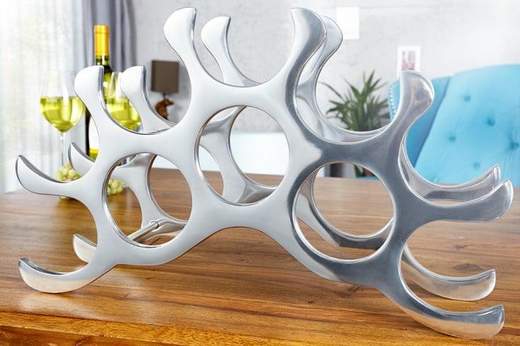 Modernes Weinregal FLAME 50cm silber für 10 Flaschen Flaschenhalter