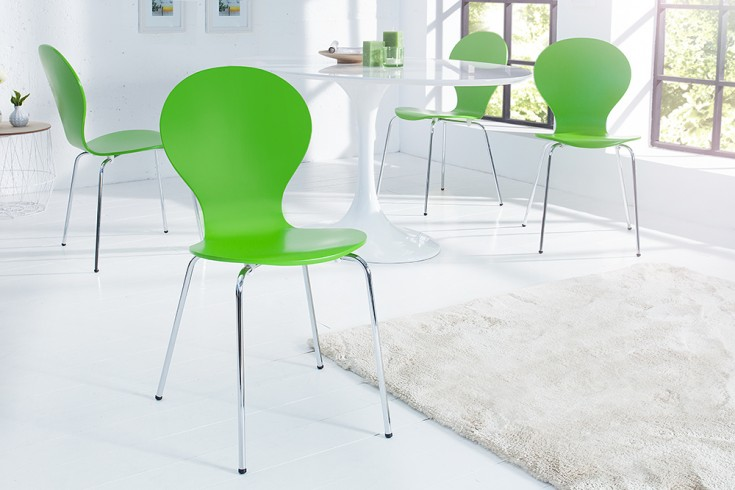 Design Stuhl FORM Designklassiker aus hochwertigem Formholz grün stapelbar