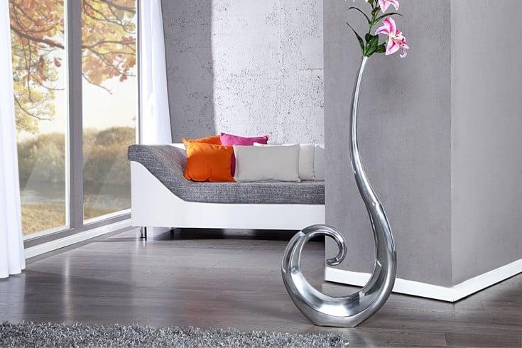 Riesige Designer Vase Wave Metall-Aluminium Legierung silber XXL 105cm