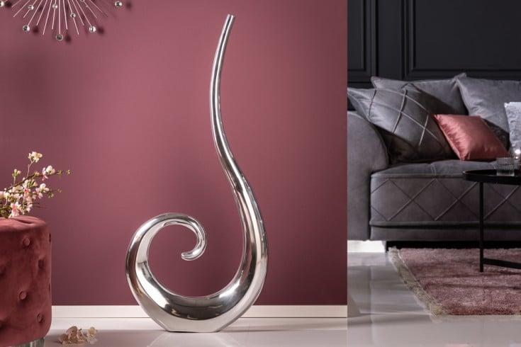 Moderne Vase WAVE XL 105cm silber Aluminium poliert Dekoration
