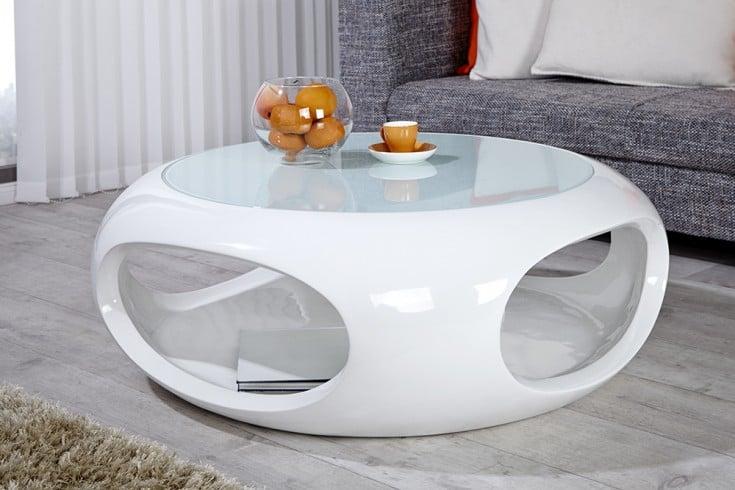 Design Couchtisch Hochglanz Weiß ~ Moderner Design Couchtisch SPIN 90cm Hochglanz weiss  Riess Ambiente