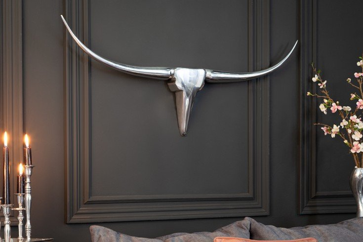 Moderne Design Wanddekoration BULL L 100cm silber Aluminium Stierkopf