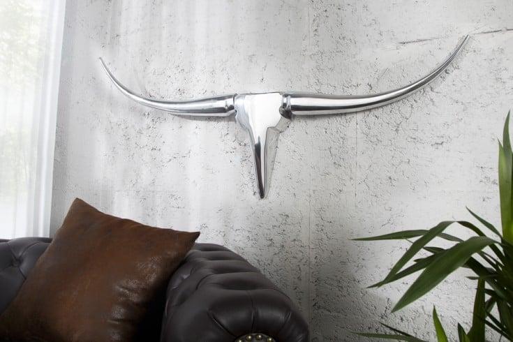 Design Accessoire Wanddekoration Metall-Aluminium Legierung Geweih Bull 100 cm