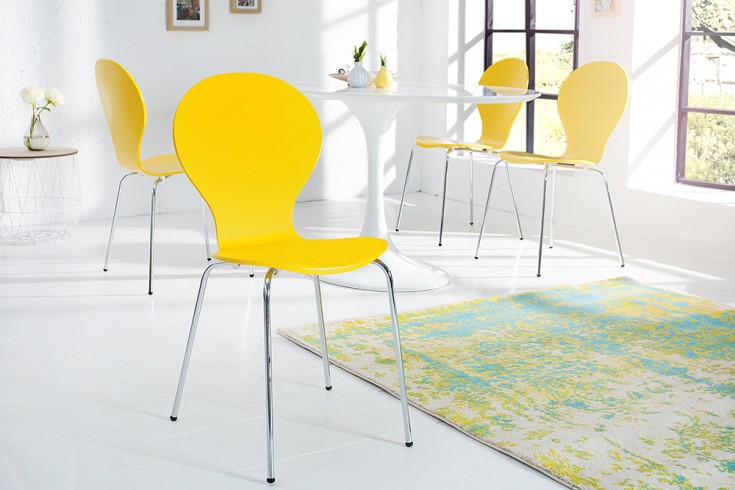 Design Stuhl FORM Designklassiker aus hochwertigem Formholz gelb stapelbar