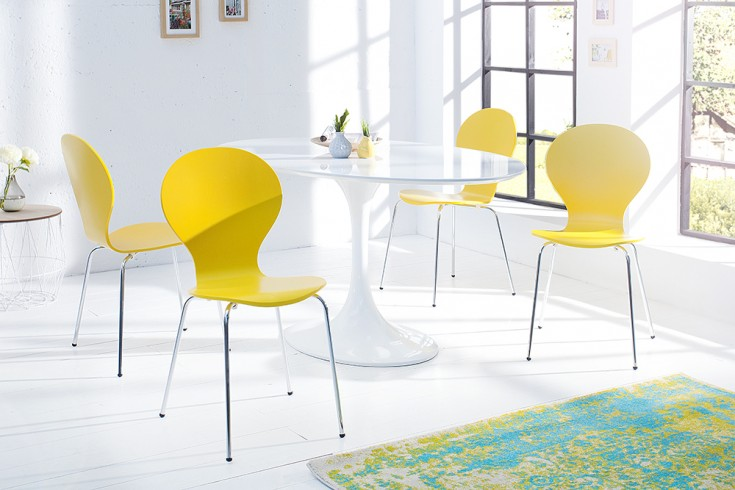 4er Set Stuhl FORM Designklassiker aus hochwertigem Formholz gelb stapelbar