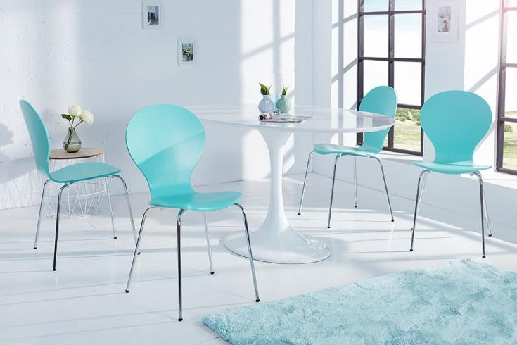 4er Set Stuhl FORM Designklassiker aus hochwertigem Formholz türkis stapelbar