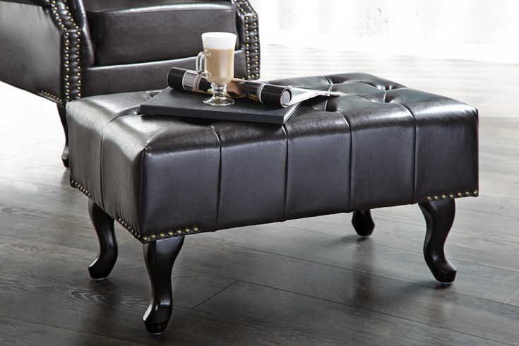 Design Chesterfield Fußhocker dark coffee