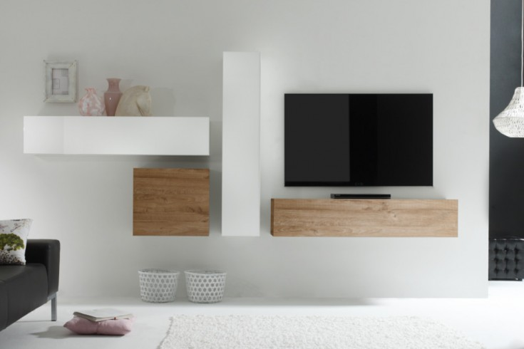 moderne cube wohnwand milano made in italy wei hochglanz eiche natur optik riess. Black Bedroom Furniture Sets. Home Design Ideas