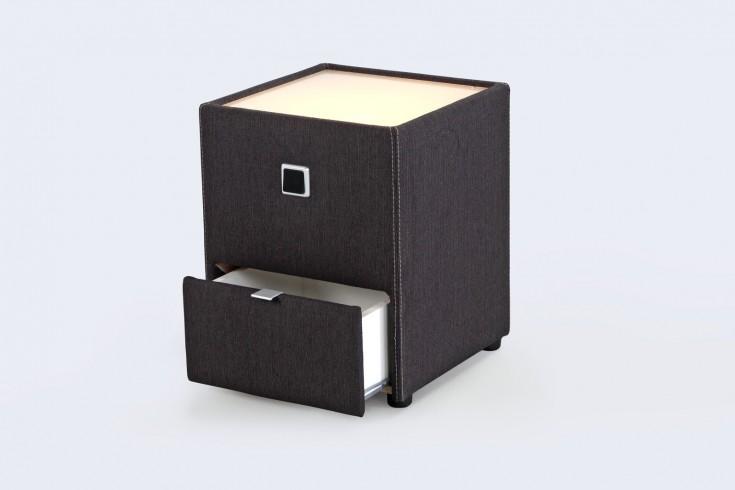 Design Nachtkommode GRANADA für Boxspringbetten  anthrazit mit indirekter Beleuchtung