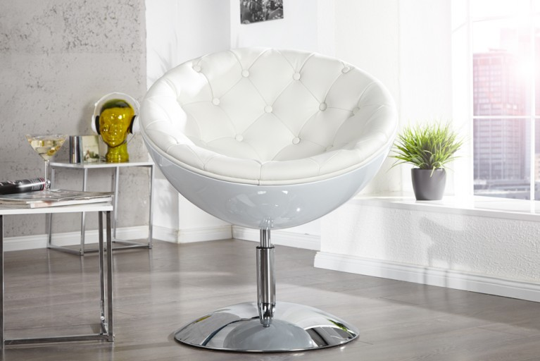 Design Cocktail Sessel GALAXY weiss mit Knopf Steppung