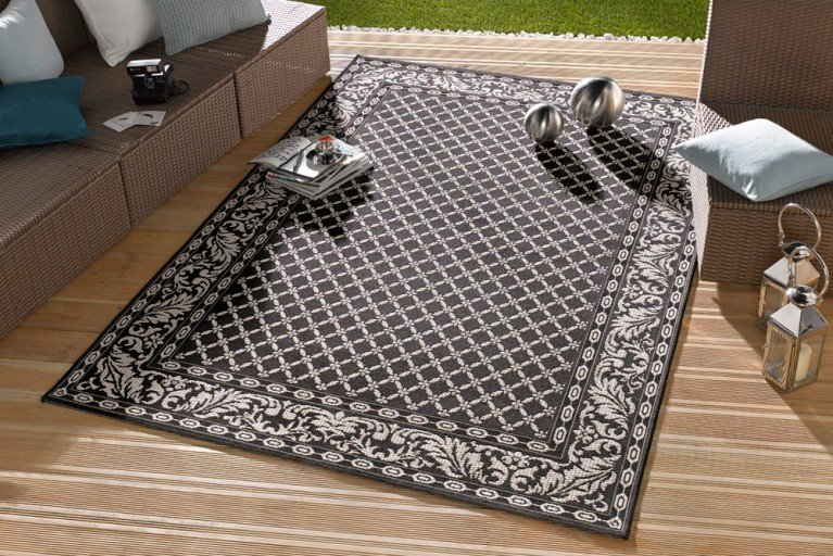 Eleganter In- & Outdoorteppich LOTUS Royal 160x230cm schwarz Lotus Summer Collection
