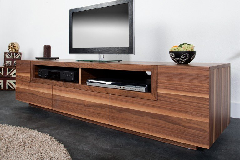 Modernes Design TV Board EMPIRE Walnuss Echtholz Furnier 165cm