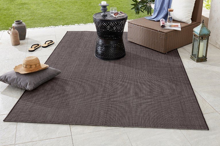 Eleganter In- & Outdoorteppich LOTUS 160x230 cm schwarz anthrazit Lotus Summer Collection