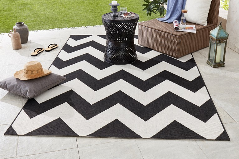 Eleganter In- & Outdoorteppich LOTUS 160x230 cm schwarz creme Lotus Summer Collection