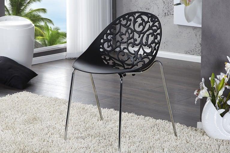 Kunstvoller Design Stapelstuhl FLORA schwarz Esszimmerstuhl