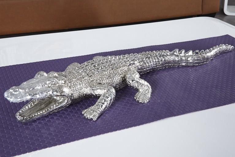Große Skulptur CROCODILE Krokodil Figur 60cm silber für innen und außen