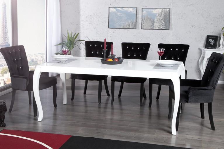 Stylischer Design Esstisch BAROCCO weiss hochglanz 200cm