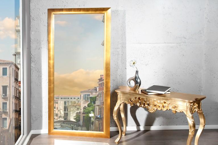 Großer moderner Design Spiegel ESPEJO gold 190x90cm Wandspiegel