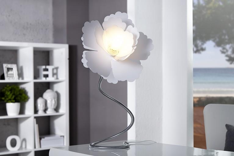Extravagante Tischleuchte FLORCITA 55cm weiss Lampe