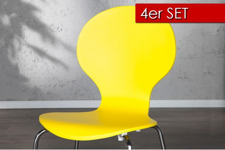 4er Set Design Stuhl FORM gelb