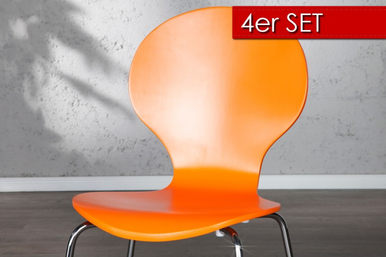 4er Set Design Stuhl FORM Orange