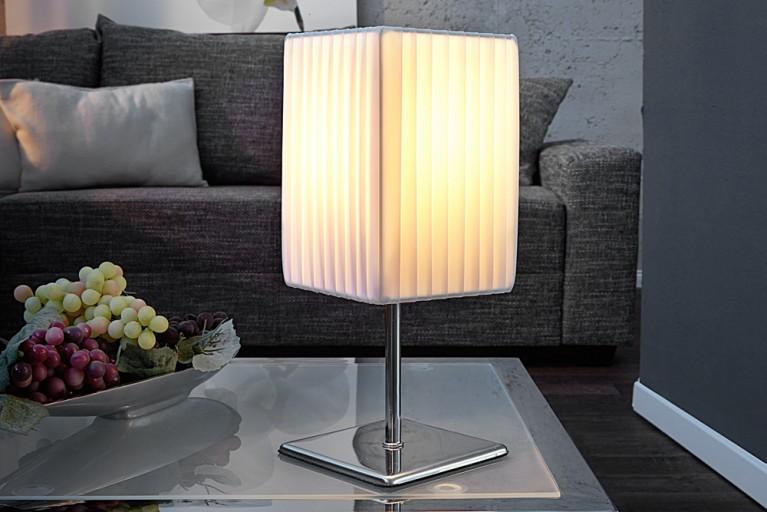 Edle Design Tischleuchte PARIS S weiss Tischlampe 45cm Plissee Schirm