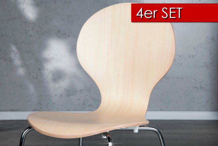 4er Set Design Stuhl FORM Ahorn natur