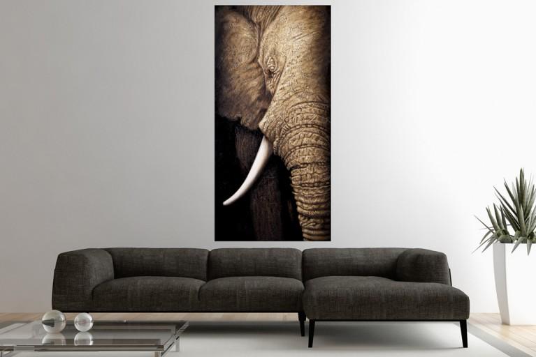 Hochwertiges handgemaltes Ölgemälde WISDOM OF NATURE Bild auf Keilrahmen und Canvas Leinengewebe 75x150 cm Elefant