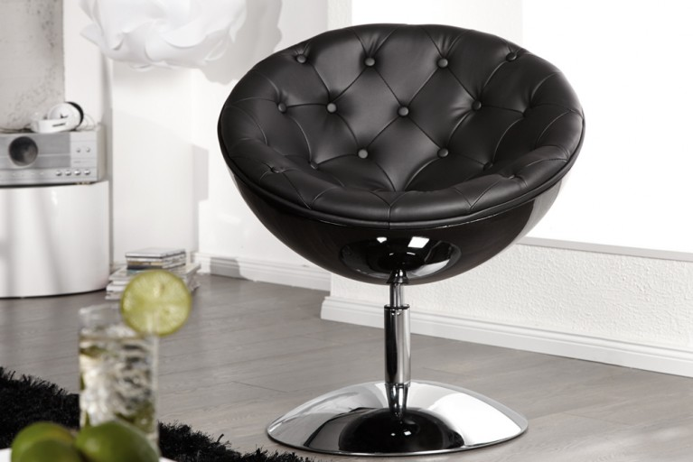 Design Cocktail Sessel GALAXY gesteppt schwarz