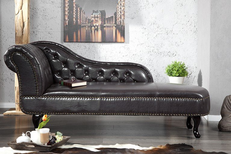 Design Chesterfield Récamière in dark coffee