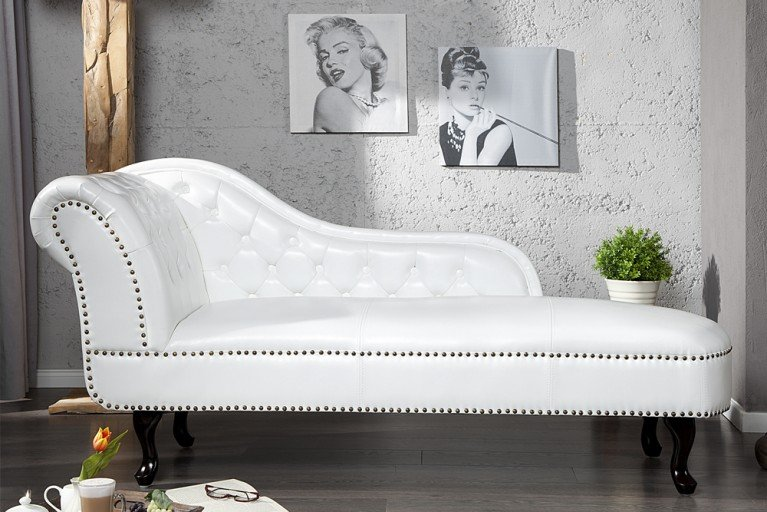 Design Chesterfield Recamiere in weiss
