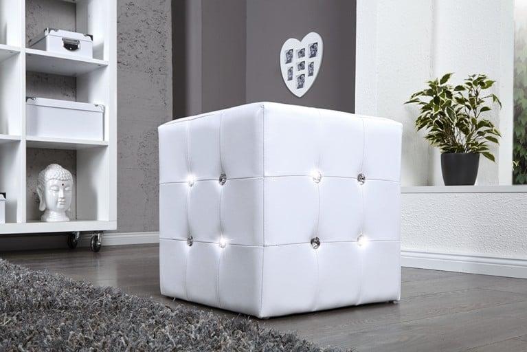 sitzw rfel boutique 1er hocker schwarz edler samtstoff mit strasskn pfen 40cm riess. Black Bedroom Furniture Sets. Home Design Ideas