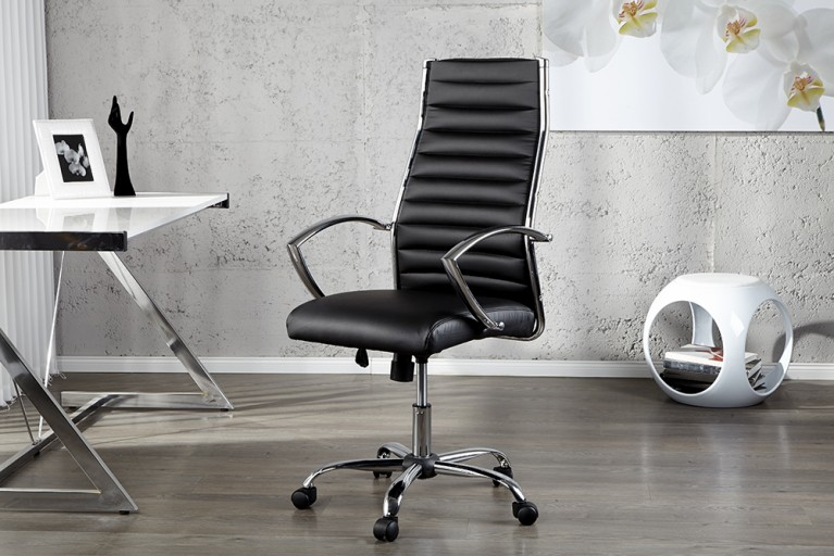 Ergonomischer Design Bürostuhl BIG DEAL schwarz Chefsessel höhenverstellbar mit hochwertig verchromten Armlehnen