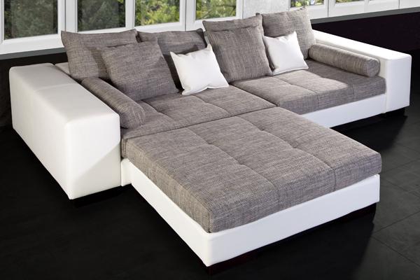 Sofa o. Hocker Big XL Modul PSP weiss Strukturstoff