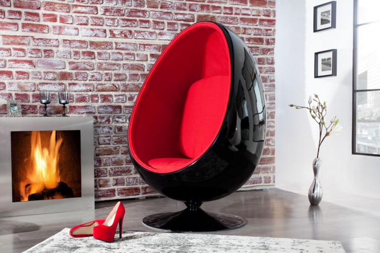 Design Lounge Sessel Sitzei SPACE EGG schwarz rot