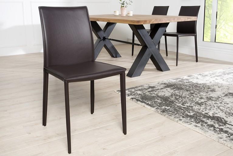 Exklusiver Design Stuhl MILANO ECHT LEDER coffee Ziernaht