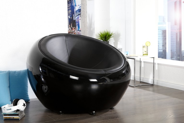 Design Sessel LOUNGE BALL schwarz total Lounge Sessel