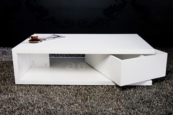 Design Couchtisch TURNING BOX High Gloss weiss