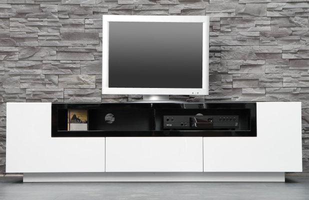 Exklusives Design TV-Lowboard EMPIRE 165cm Hochglanz weiß schwarz inkl. Soft-Stopp