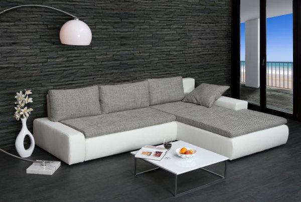 Design Ecksofa SHAPE weiss Strukturstoff grau